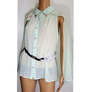 L' ATISTE Sheer Mint Blouse NWT with Belt